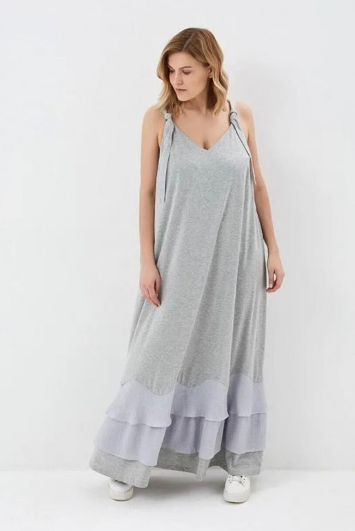 JERSEY MAXI DRESS WITH WOVEN HEM